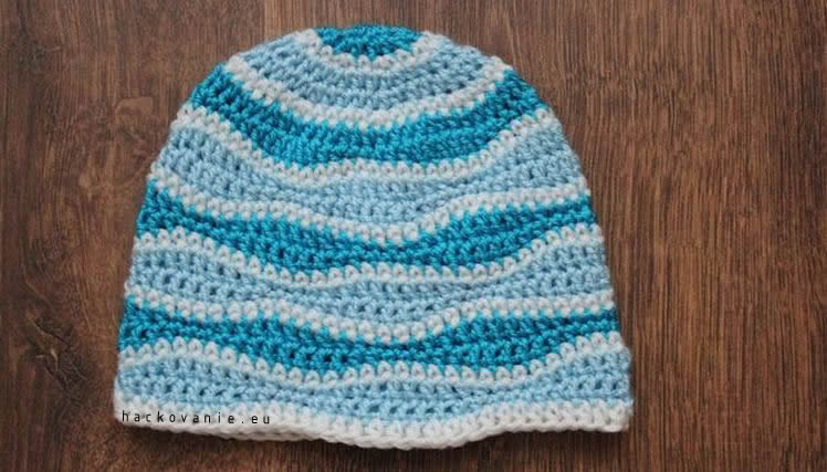 hackovana ciapka vlnkovy vzor crochet wave beanie hat