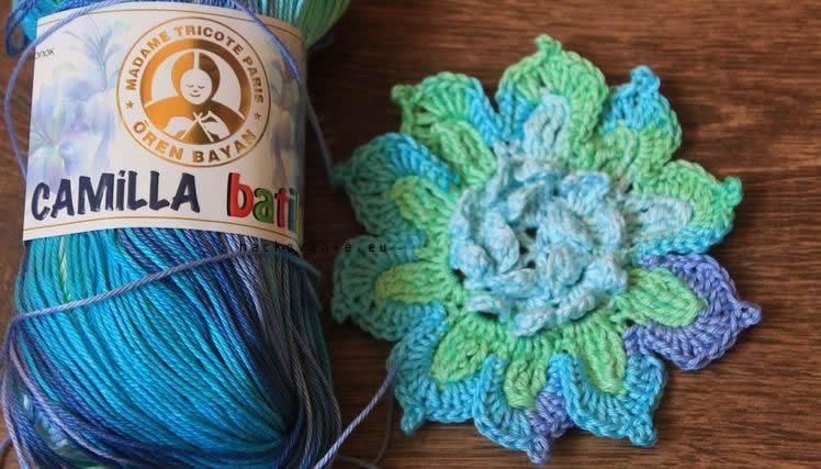 camilla batik zeleno-modra hackovany kvet