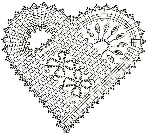 schema na hackovane srdiecko flanderska cipka bruges lace crochet heart