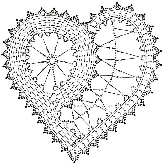 schema na hackovanie srdce flanderska cipka bruges lace