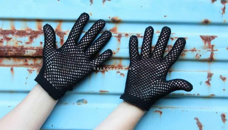 damske hackovane rukavicky postup na hackovanie