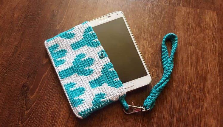 handmade phone case tapestry crochet hackovany obal na mobil gobelinove hackovanie