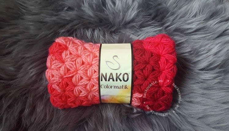 hackovany nakrcnik z priadze Nako Colormatik