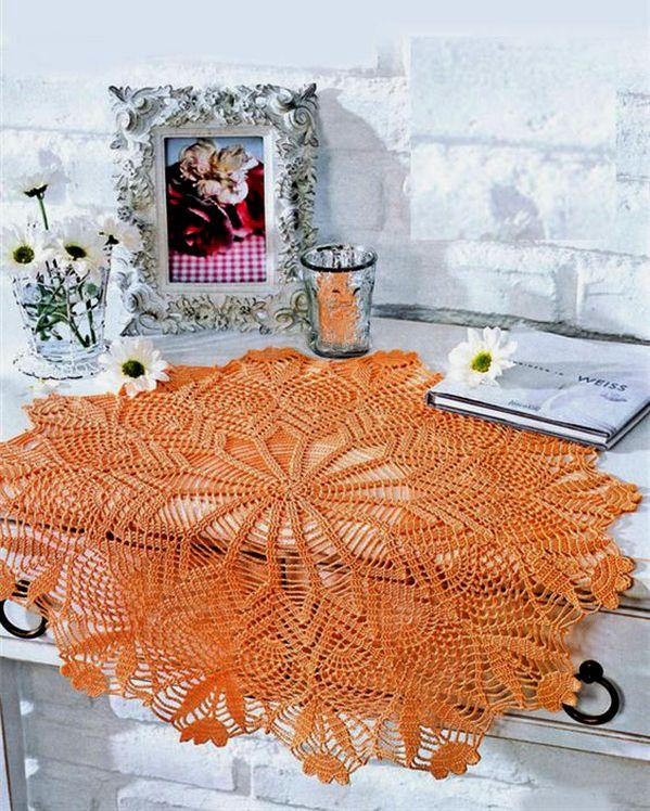 hackovana decka s kvetmi oranzova
